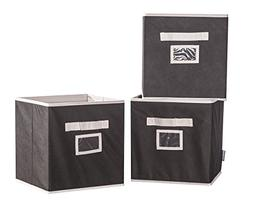 STORAGE MANIAC Folding Storage Bins Boxes Handles Clear Iden