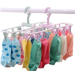 Folding Travel Clip & Drip Hanger, Portable Plastic Clothes