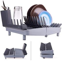 Folding Dish Rack, Collapsible Drying Rack Organizer for Med