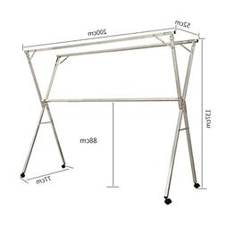 Folding Type X Double Pole Clothes Rail, Mobile Floor Drying