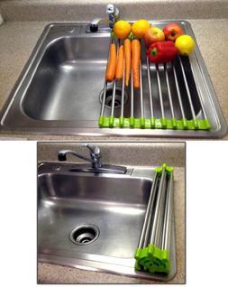 Folding Drain Rack Vegetable Rinsing Station - Stainless Ste
