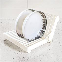 Sunnyac Plastic Folding Drainer Rack, Stackable Dish Drying