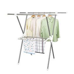 Folding type X drying racks, telescopic double pole floor-mo