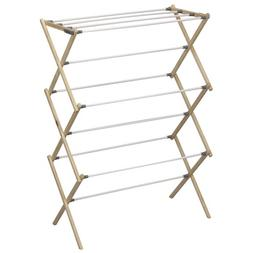 Household Essentials Folding Pine Wood Clothes Drying Rack