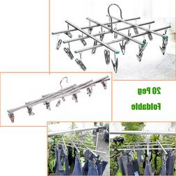 Folding Stainless Steel 20 Clips Clothes Bra Sock Laundry Ra