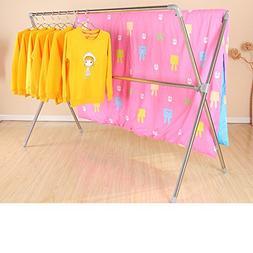 Folding stainless steel drying rack,Floor double rod drying