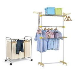 BestValue Go Freestanding Adjustable 3 Tier Garment Rack Col