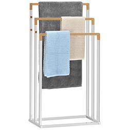 Freestanding Chrome Plated 3-Tier Bamboo Towel Bar, Bathroom