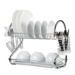 Finnhomy Functional Kitchen 2 Tier Chrome Dish Drying Rack D