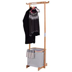 MD Group Garment Hanger Storage Rack Bamboo Laundry Hamper C