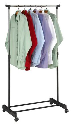 Sunbeam Garment Hanging Clothing Rack on Wheels, Black and S