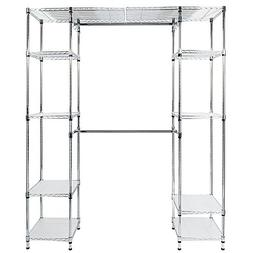 Mefeir Garment Rack with 2 Extendable Hanging Rods,8 Shelves