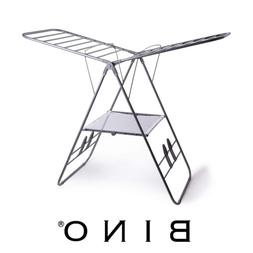 gullwing collapsing foldable laundry drying rack silver