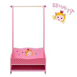 Labebe Hanging Garment Rack Shelf, Pink Garment Rack Wood fo