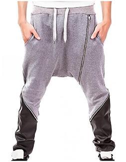 FieerMen Haren Pants Hip-hop Leather Stitch Zipper Drawstrin