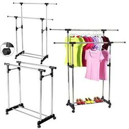 Heavy Duty Double Adjustable Portable Clothes Dry Hanger Rol
