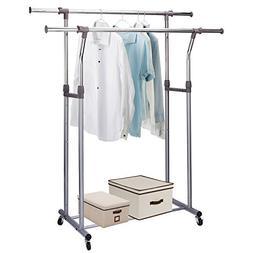 Rukerway Heavy Duty Garment Rack Double Rail Adjustable Clot