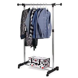 Rukerway Heavy Duty Garment Rack Single Rail Adjustable Clot