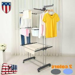Heavy Duty Laundry Clothes Storage Drying Rack Portable Fold