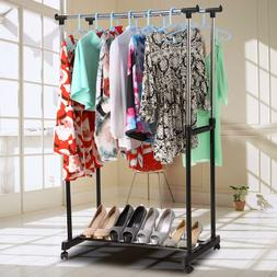 Heavy Duty Metal Double Garment Rack Clothes Hanging Drying