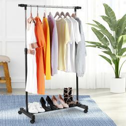 Heavy Duty Single Rail Garment Rack Laundry Drying Stand Clo