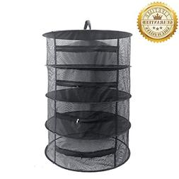 Herb Drying Rack Net 4 Layer Herb Dryer Black Mesh Hanging D