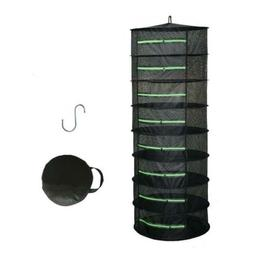Herb Drying Rack Net Dryer 6 Layer 2ft Black W/Green Zippers