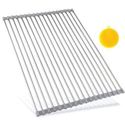 Hhyn Stainless Steel Roll Up Dish Drying Rack, Large, Gray