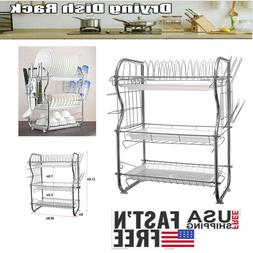 Home 3 Tier Dish Rack Basics Drainer Chrome Cup Drying Kitch