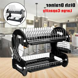 Home Basics Large 2 Tier Dish Drainer Drying Rack Kitchen St