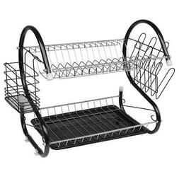 Home Dish Drying Rack 2 Tier Cup Drainer Kitchen Sink Storag