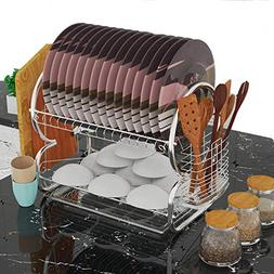 Goodfans Home Kitchen 2 Tier Stainless Steel Dish Rack, Spac
