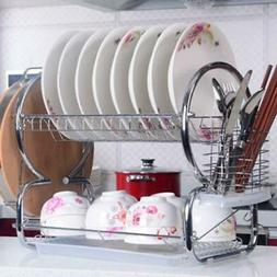 Home Kitchen 2 Tier Stainless Steel Dish Rack Cup Drying Rac