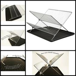 Home Kitchen Chrome 2 Tier Folding Dish Drying Rack And Plas