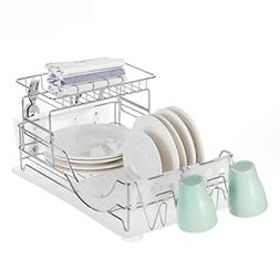 Home Zone Kitchen Dish Drying Rack with Drain Board, 2-Tier