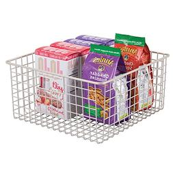 mDesign Household Wire Storage Organizer Bin Basket with Bui