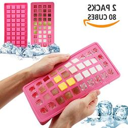 Ice Cube Trays Reusable Ice Cube Maker 2 PACKS 80 Mini Ice C
