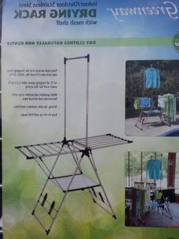 Indoor / Outdoor Clothes Drying Rack with Mesh Shelf