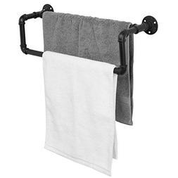 MyGift Industrial Black Metal Pipe Wall-Mounted Towel Bar