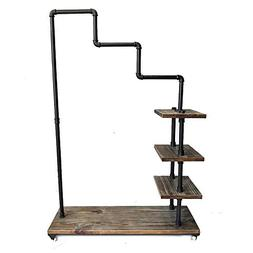 Diwhy Industrial Pipe Clothing Rack Pine Wood Shelving Shoes