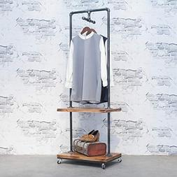 Industrial Pipe Clothing Rack with Wood Shelves,Steampunk Ir