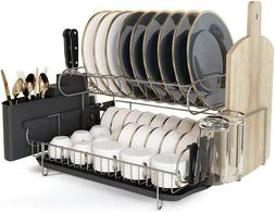 JASIWAY Dish Drying Rack, Kitchen Dish Rack with Drainboard