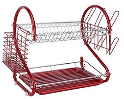 Europe Ware K10766, Iron Red Dish Rack with Plastic Draining