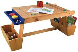 Kids Art Work Drawing Activity Play Wood Table Desk Set, Dry