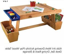 KidsKraft Art Drawing Activity Play Wood Table Desk Set, Dry