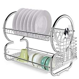 Keland Kitchen 2 Tier Dish Drainer Drying Rack,Stainless Ste