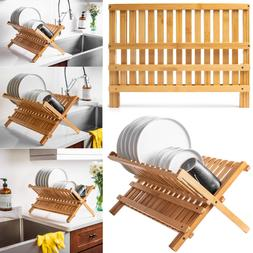 Folding Dish Drying Rack Kitchen Bamboo Wooden Drainer Colla