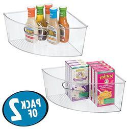 mDesign Kitchen Cabinet Plastic Lazy Susan Storage Organizer