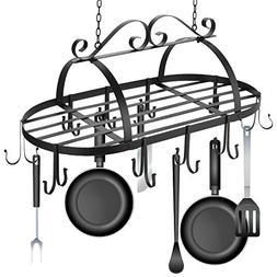 Ferty Kitchen Ceiling Mounted Oval Iron Hanging Pots Holder