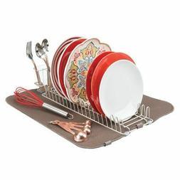 mDesign Kitchen Counter Dish Drying Rack & Microfiber Mat, S